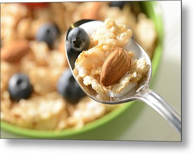 Bowl Of Cereal With Bluberries And Almonds On Spoon Metal Print by Brandon Bourdages