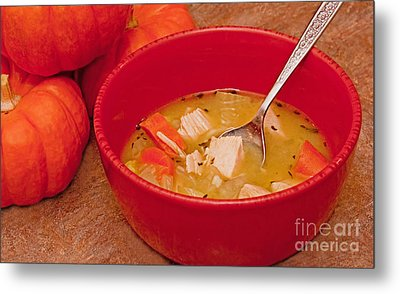 Bowl Of Homemade Chicken Noodle Soup Metal Print