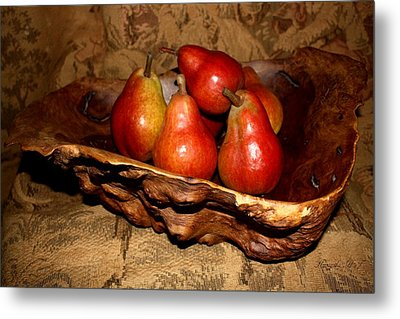 Metal Print featuring the photograph Bowl Of Pears - Still Life by Amanda Holmes Tzafrir