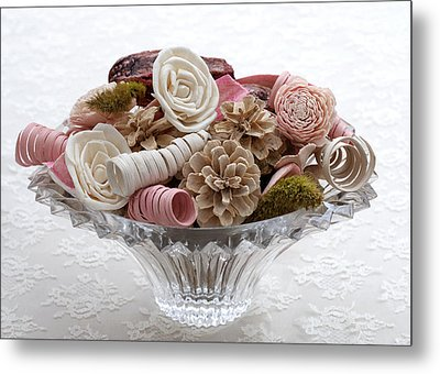 Bowl Of Potpourri On Lace Metal Print