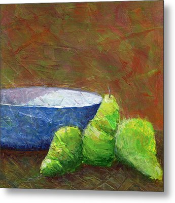 Bowl With Pears Metal Print