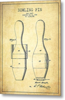 Bowling Pin Patent Drawing From 1938 - Vintage Metal Print by Aged Pixel