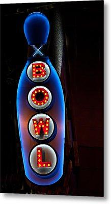 Bowling Pin Sign Metal Print by Matthew Bamberg