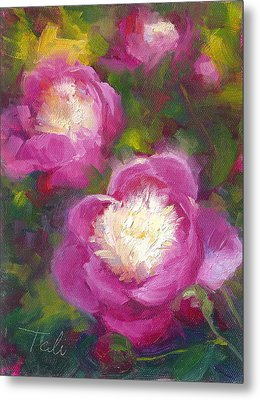 Bowls Of Beauty - Alaskan Peonies Metal Print by Talya Johnson