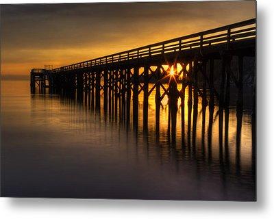Bowman Bay Pier Sunset Metal Print by Mark Kiver