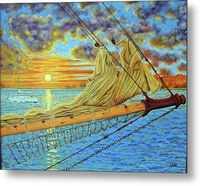 Metal Print featuring the painting Bowsprit Over The Ashley River by Dwain Ray