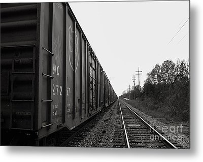 Box Cars And Tracks Metal Print by Russell Christie