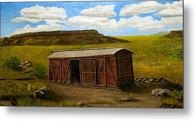 Boxcar On The Plains Metal Print by Sheri Keith