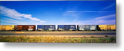 Boxcars Railroad Ca Metal Print by Panoramic Images