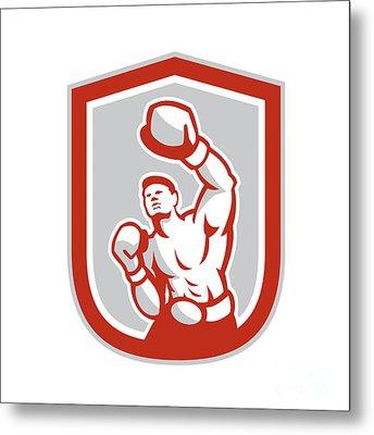 Boxer Boxing Punching Jabbing Circle Retro Metal Print