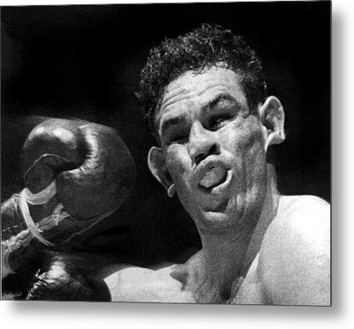 Boxer Catches A Left Hook Metal Print by Underwood Archives