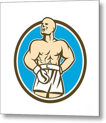 Boxer Champion Shouting Circle Retro Metal Print