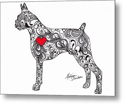 Metal Print featuring the drawing Boxer by Melissa Sherbon