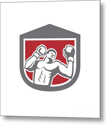 Boxer Punching Boxing Shield Retro Metal Print