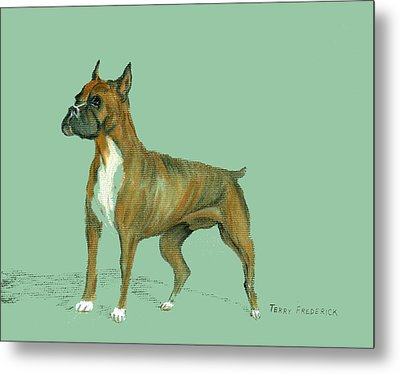 Metal Print featuring the pastel Boxer by Terry Frederick