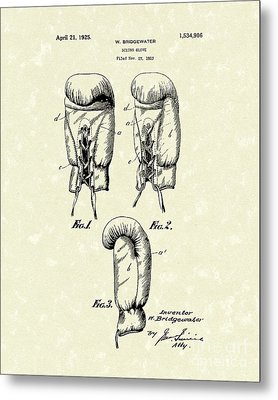 Boxing Glove 1925 Patent Art Metal Print by Prior Art Design
