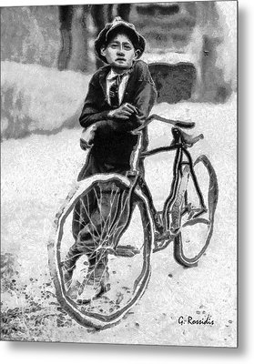 Boy And Bicycle Metal Print by George Rossidis