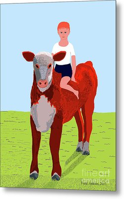 Boy And Calf Metal Print by Fred Jinkins