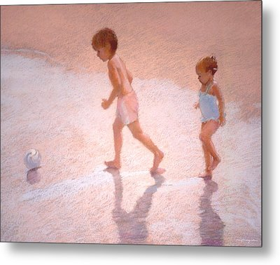 Boy And Girl W/ball Metal Print