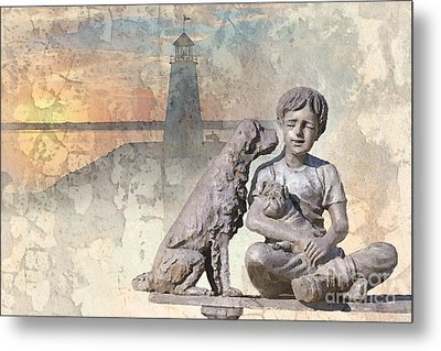 Boy And His Dogs Sculpture Metal Print by Betty LaRue