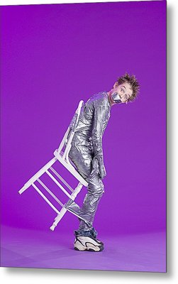 Boy Bound By Duct Tape Metal Print by Ron Nickel