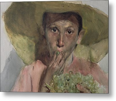 Boy Eating Grapes Metal Print by Joaquin Sorolla y Bastida