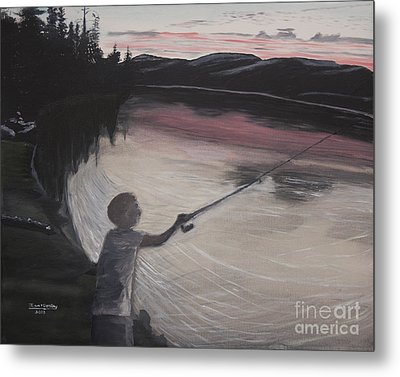 Boy Fishing And Sunset Metal Print