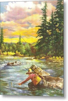 Boy Fishing Metal Print by JQ Licensing