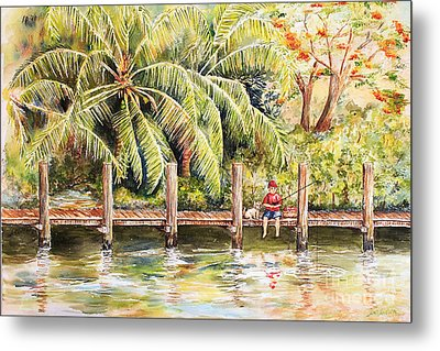 Boy Fishing With Dog Metal Print by Janis Lee Colon