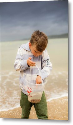 Boy Holding Crab Metal Print