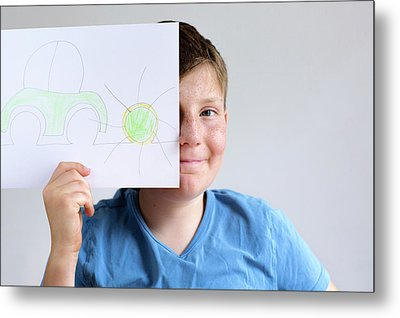 Boy Holding Drawing Of Car And Sun Metal Print by Gombert, Sigrid