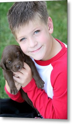 Boy Holding Puppy Metal Print by Colleen Cahill