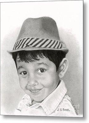 Boy In Fedora Metal Print by Sarah Batalka