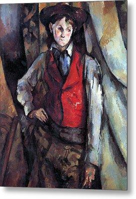 Boy In Red Waistcoat By Cezanne Metal Print by John Peter