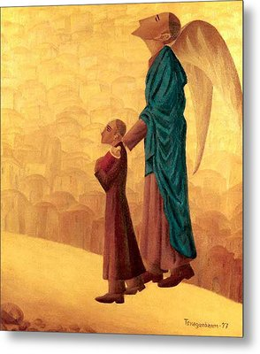Boy Leading The Blind Angel Metal Print