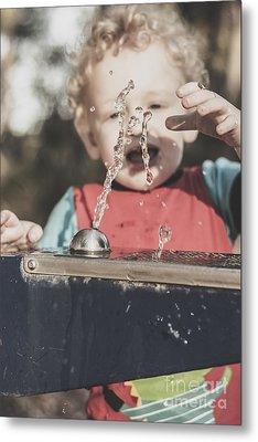 Boy Mesmerised By The Element Of Water In Motion Metal Print by Jorgo Photography - Wall Art Gallery
