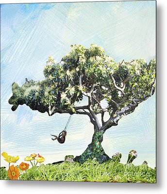 Boy On A Swing Metal Print by Linde Townsend