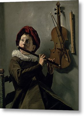 Boy Playing The Flute Metal Print by Judith Leyster