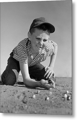 Boy Shooting Marbles, C.1950-60s Metal Print by B. Taylor/ClassicStock