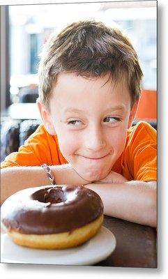 Boy With Donut Metal Print by Tom Gowanlock