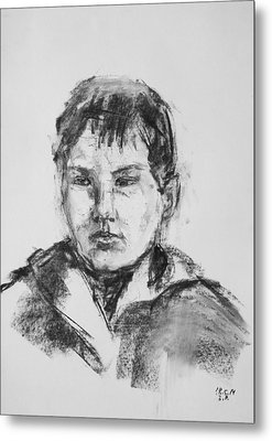 Boy With Hooded Jacket Metal Print by Barbara Pommerenke