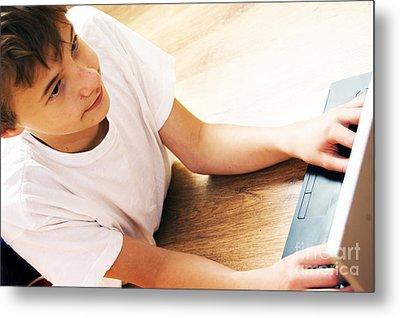 Boy With Notebook Metal Print by Michal Bednarek