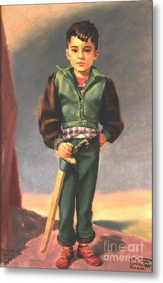 Boy With Paper Sword Metal Print by Art By Tolpo Collection