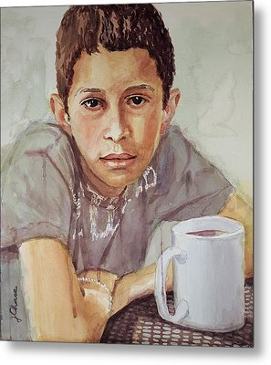 Boy With White Cup Metal Print by Jeff Chase