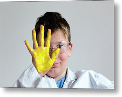 Boy With Yellow Paint On Hand Metal Print by Gombert, Sigrid