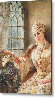 Boyar's Wife At The Window Metal Print by Konstantin Egorovich Makovsky