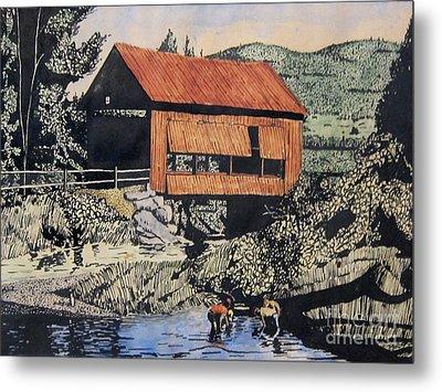 Boys And Covered Bridge Metal Print by Joseph Juvenal
