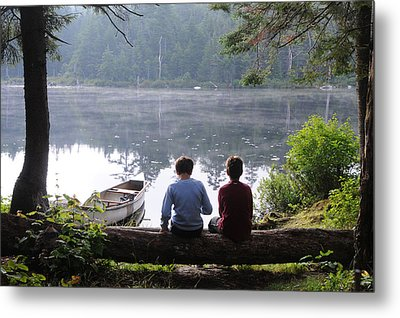 Metal Print featuring the photograph Boys At Beebe Pond by Paul Miller
