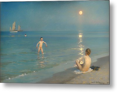 Boys Bathing At Skagen Metal Print