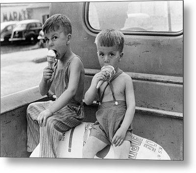 Boys Eating Ice Cream Cones Metal Print by John Vachon